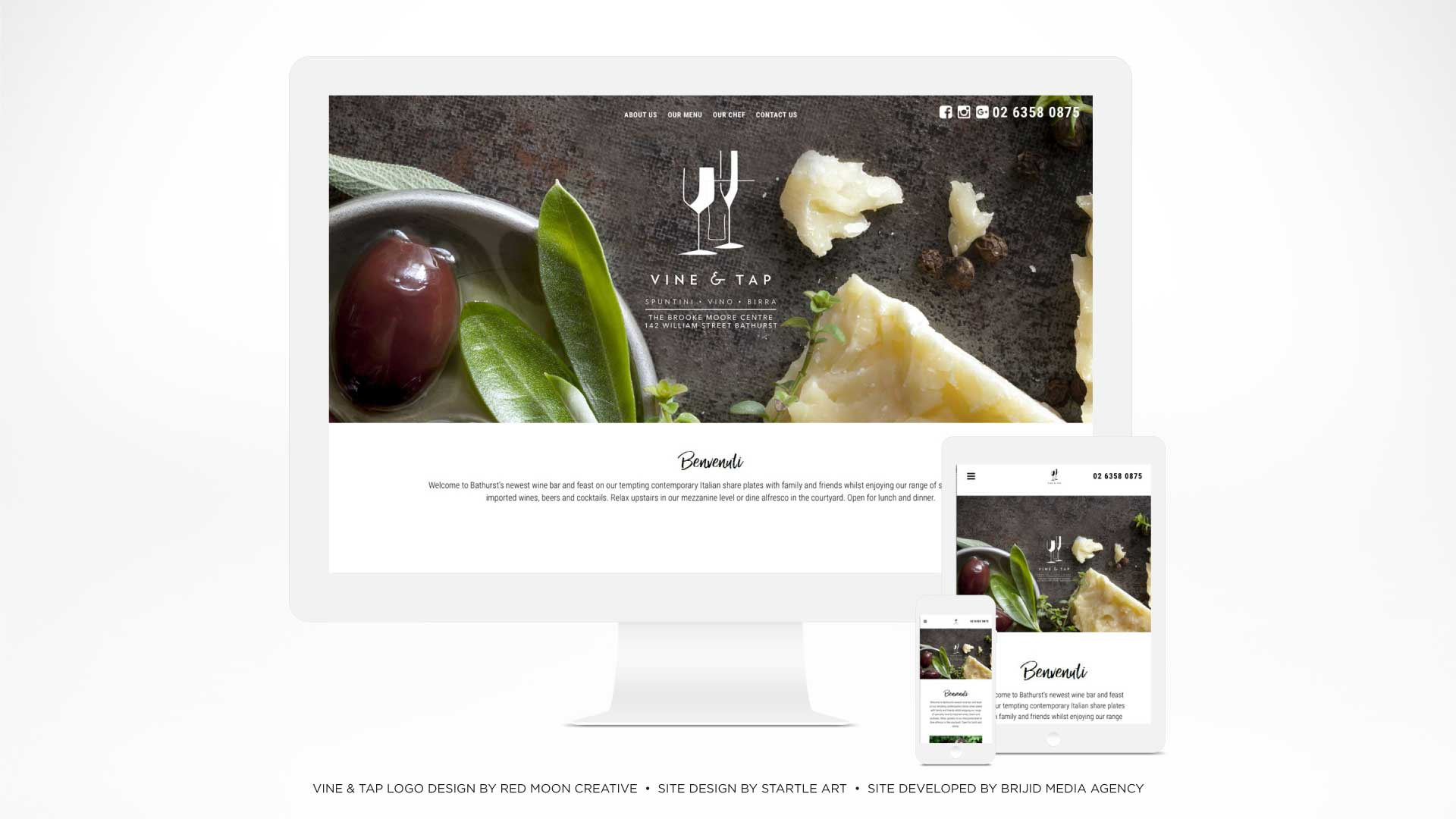 Portfolio - Vine & Tap Bathurst Website | StartleArt Graphic Design